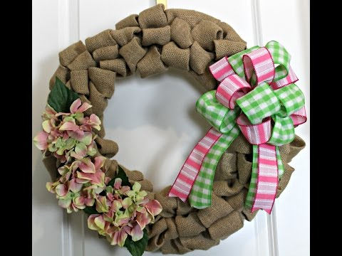 How To Make Burlap Wreath With Hydrangea Flowers And Bow Of Pick And Green
