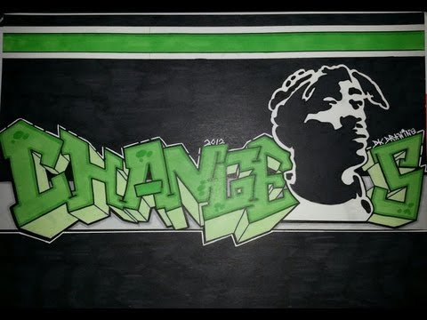 Tupac Graffiti Letters & Stencil Drawing - Changes - YouTube