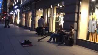 Didgeridoo performance by Japanese guy, Karl Johans Gate, Oslo, Norway