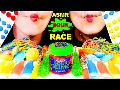 Asmr Sour Candy Race Satellite Wafers Wax Bottles Giant Candy Dots Sour Slime Rock Candy Sticks Youtube