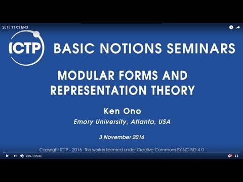Modular Forms and Representation Theory - Ken Ono - 2016