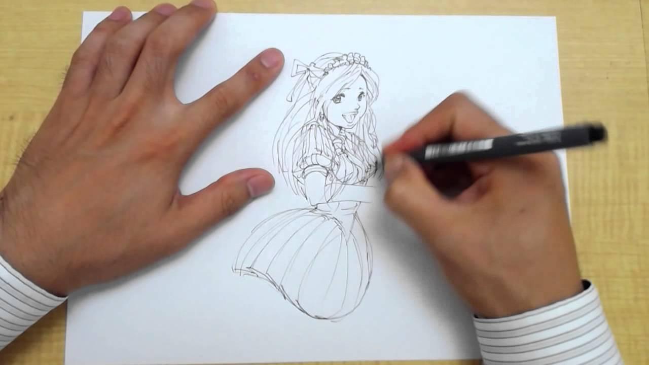 イラストの描き方花束を持った女性キャラstep1ペン Youtube