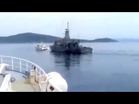 Greek Navy chasing Turkish Navy Patrol close to Oinousses Islands
