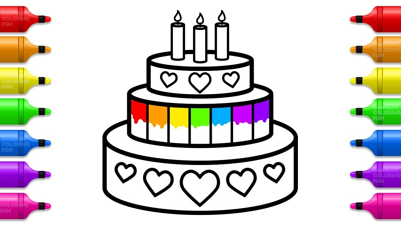 How To Draw Birthday Cake For Kids Learn Colors With Cake