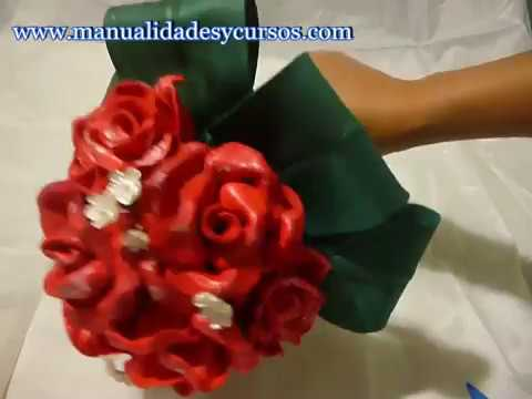 Ramo de novia con rosas en goma eva -Eva foam roses bouquet - YouTube