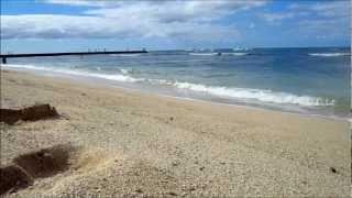 Waikiki Beach with wave sound(HD)