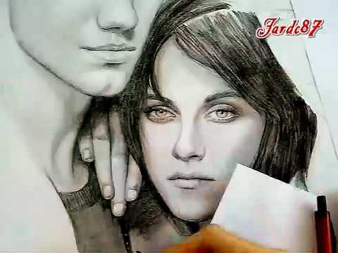 Рисует Jakob,Bella,Edvard из фильма сумерки