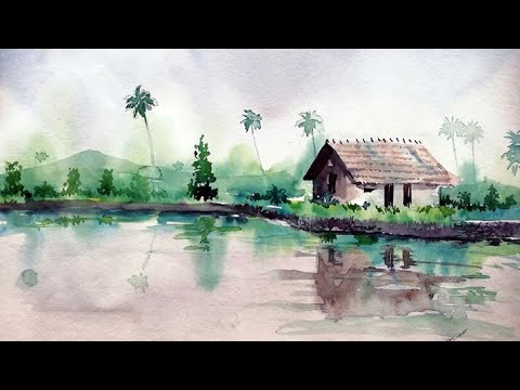 watercolor landscape painting for beginners tutorial