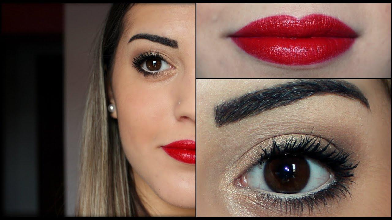 Glamorous Eyes Make Up And Red Lips Youtube