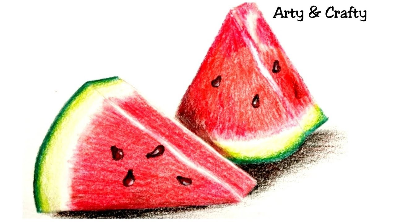 Realistic watermelon how to draw watermelon drawing water melon with coloured pencilfruit drawing