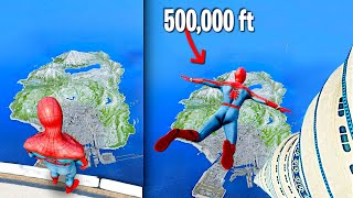 Jumping Off The TALLEST BUILDING as SPIDERMAN In GTA 5.. (Mods)