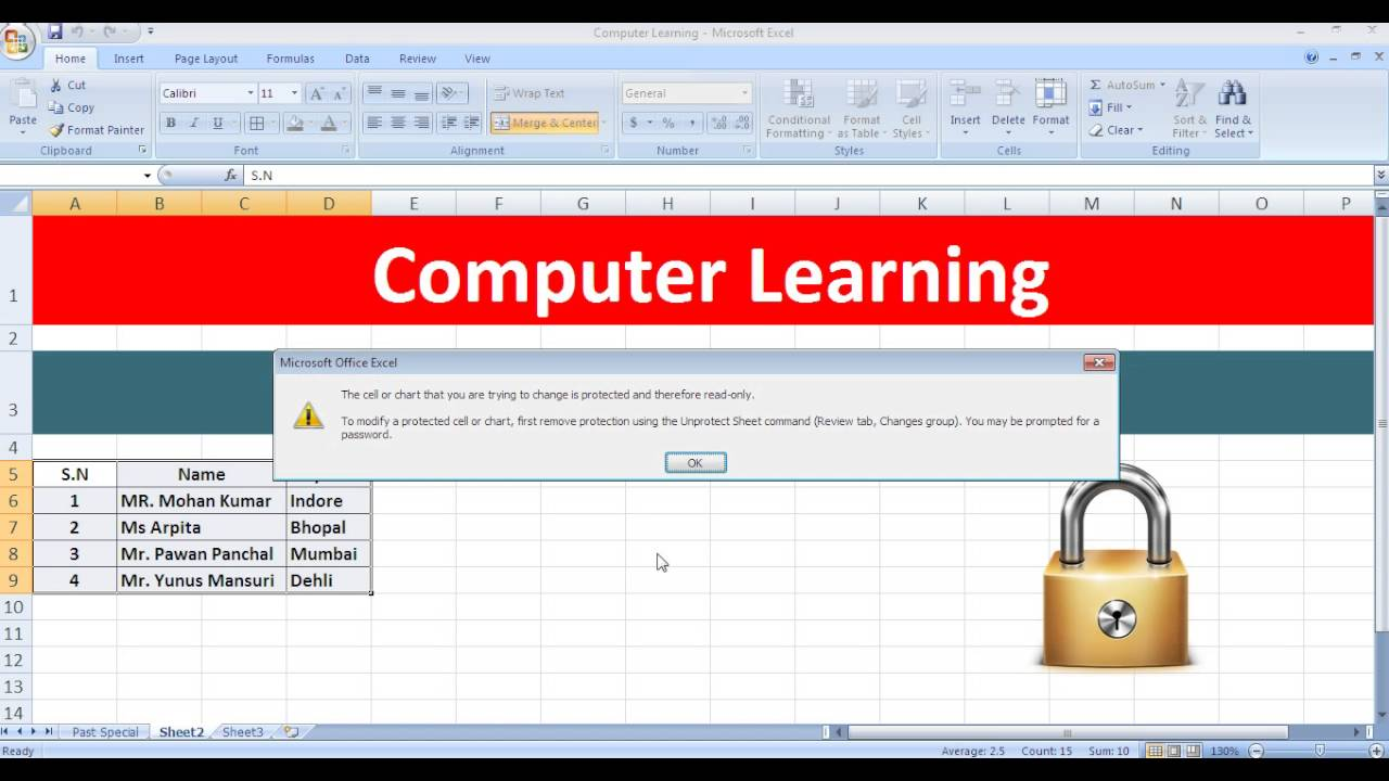 Protect Worksheet of Microsoft Excel in Hindi Language - YouTube