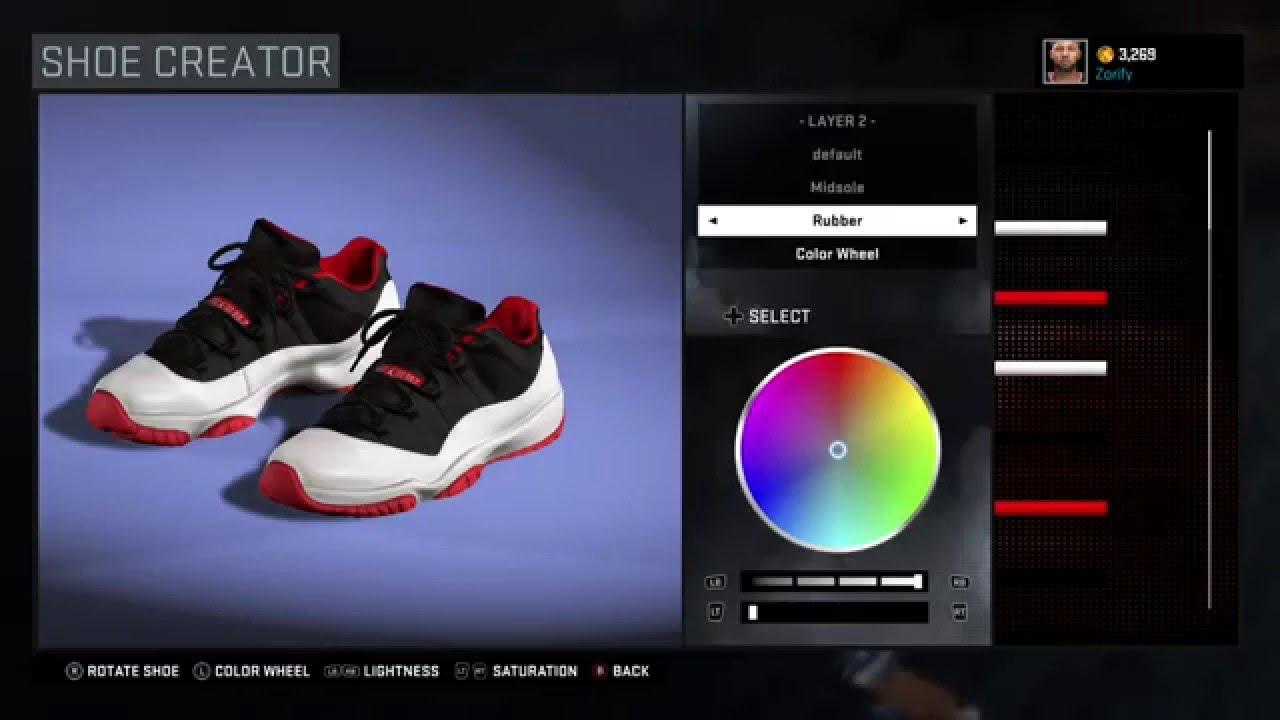 best website dc07a 072f5 ... order nba 2k16 shoe creator air jordan 11 low white black true red  youtube 95333 c5f40