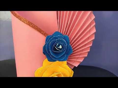 #papercraft#flowervase  Making paper flower vase   simple paper craft   DIY paper vase  Paperfl JUS