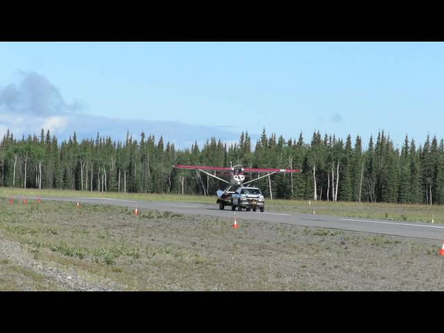 Fortymile Air Super Cub taking off from trailer