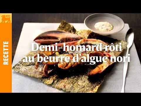 Demi-homard rôti au beurre d'algue nori