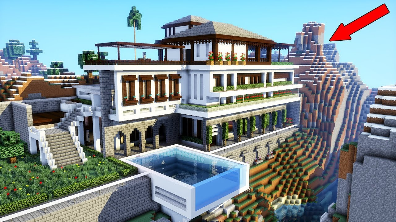 Want This Tutorial  Minecraft  How To Build A Modern Mansion    Modern Cliff  Mountain House  2018