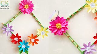 How to make Paper Flower Wall Hanging    DIY Paper Flower Wall Hanging    Wall decoration ideas
