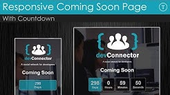 Responsive Coming Soon Landing Page With Countdown