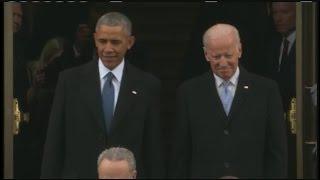 president barack obama vice president joe biden arrive at the presidential inauguration of donald t