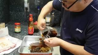 cara membuat  sio bak ( siu yuk  ) babi panggang  yg enak dan kemripik non halal ....