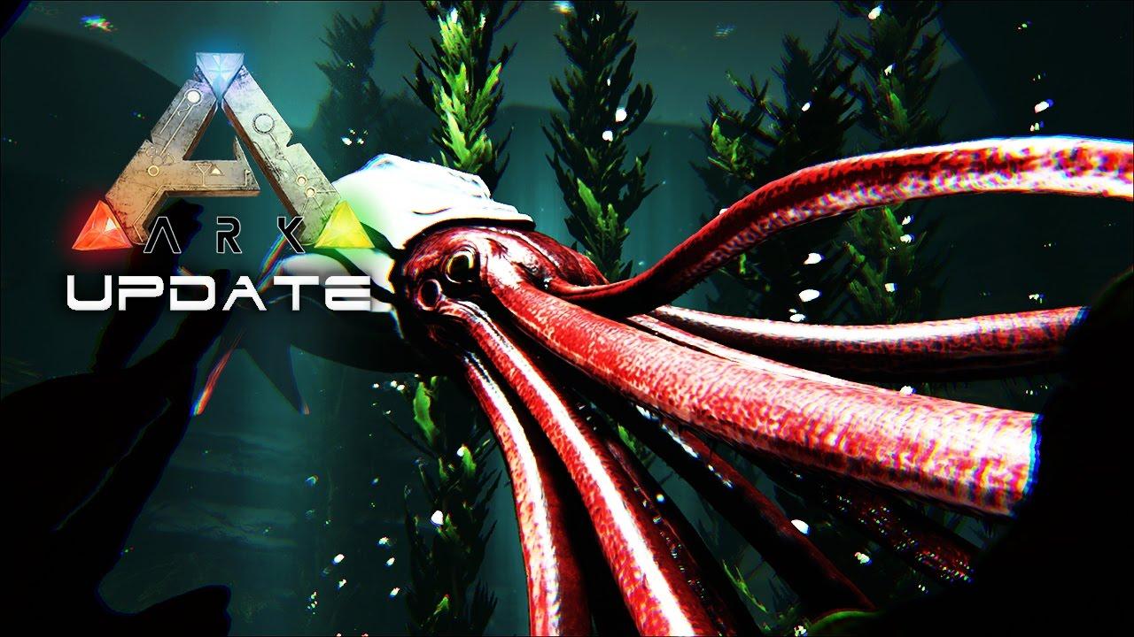 ARK UPDATE 253 - Tusoteuthis GIANT SQUID TAMMING & Underwater Cave ...
