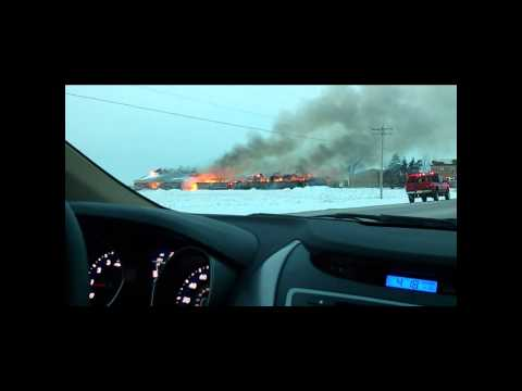 Barn burns down, collapses, Hwy 45, Wisconsin