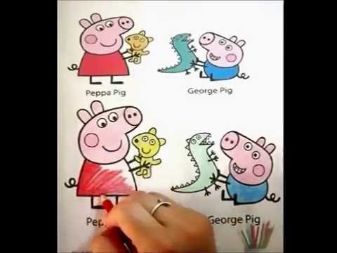 Peppa Pig And George With Their Toys Coloring Pages Book For Kids
