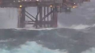 Dunbar Oil Rig in North Sea - Hit by huge wave (14-12-2008) thumbnail
