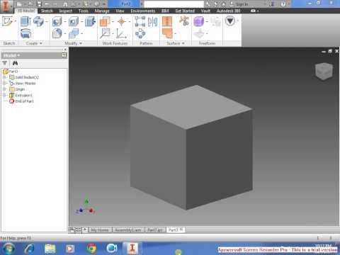 Autodesk Inventor 2015 Beginner in drawing cube tutorial