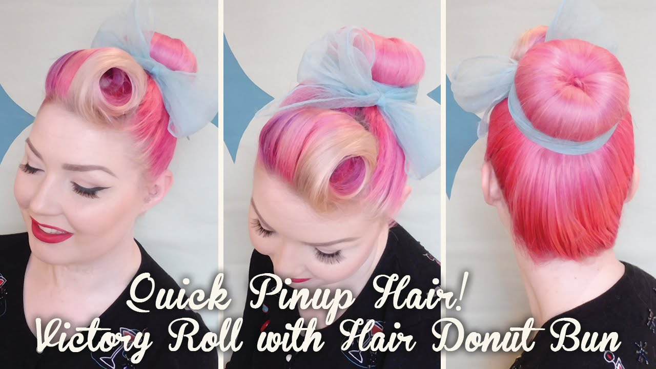 Quick Pinup Hair Victory Roll With Hair Donut Bun