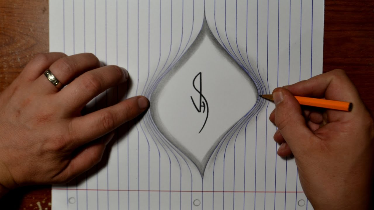 Drawing torn lined paper cool easy trick art youtube for Cool easy pen drawings