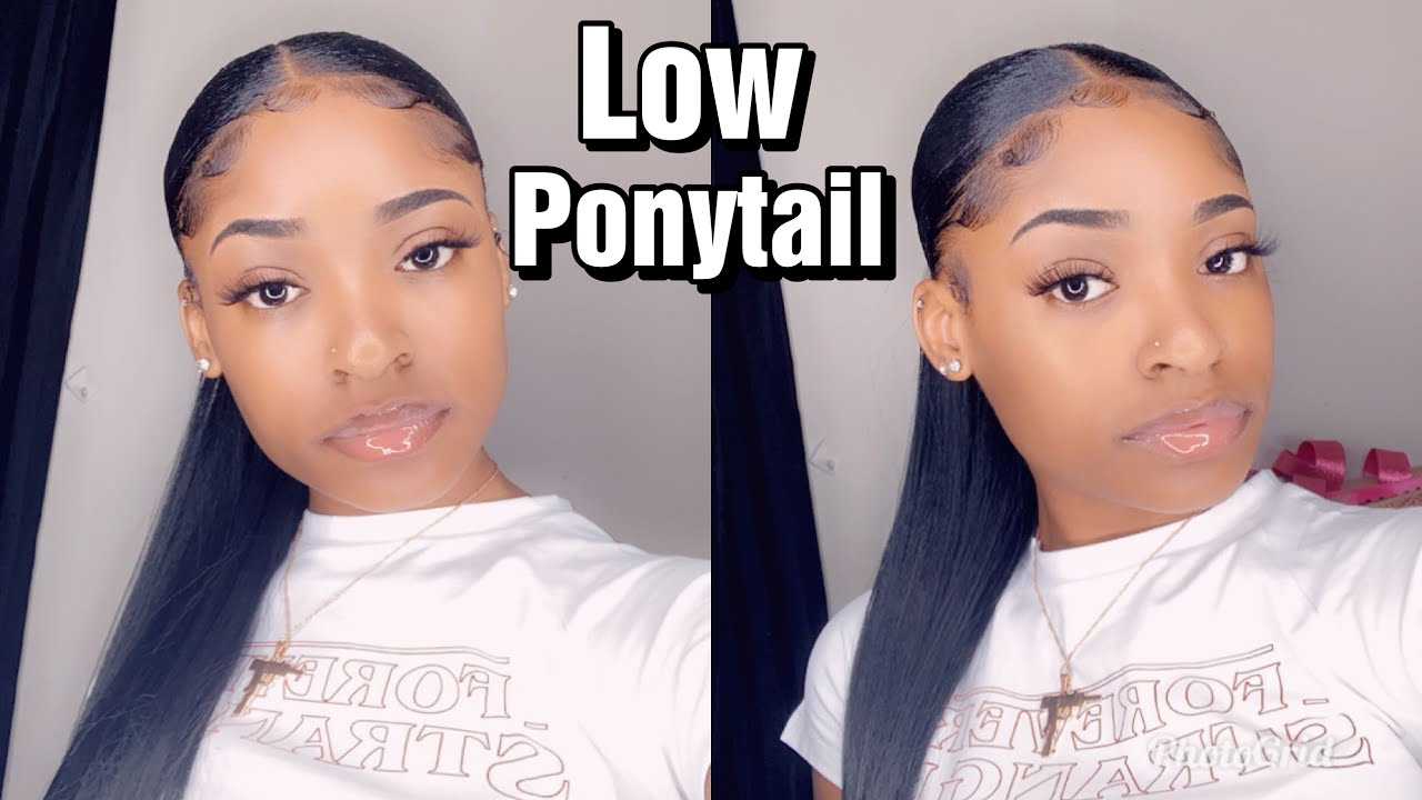 How To Sleek Low Ponytail On Short Natural Hair With Weave Youtube