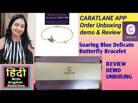 caratlane-soaring-blue-delicate-butterfly-bracelet-review-unboxing-and-demo-in-hindi