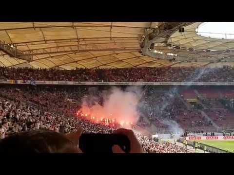 VfB Stuttgart vs Karlsruher SC 2:0 09.04.17 - KSC-Fans zünden und werfen PYROS auf den Platz !! T2