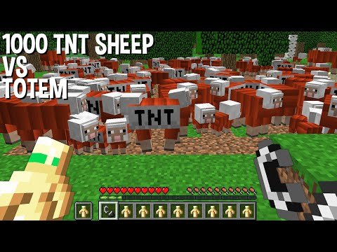 Will the TOTEM of UNDYING save from 1000 TNT SHEEP in Minecraft ???