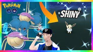 FULL ODDS SHINY EEVEE CAUGHT - HUGE WAILMER NEST in Pokemon Go! ( 100x Wailmer Spawns )