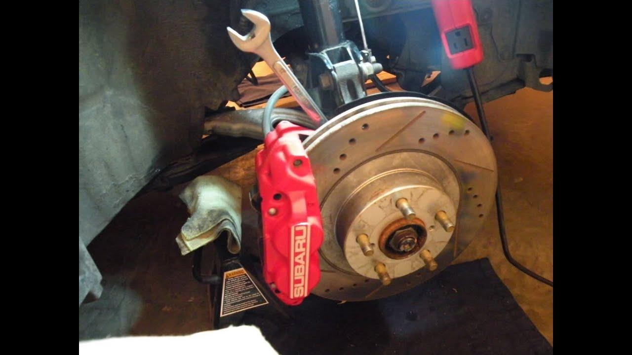Stoptech Brake Pads >> Subaru WRX brake pad install - YouTube