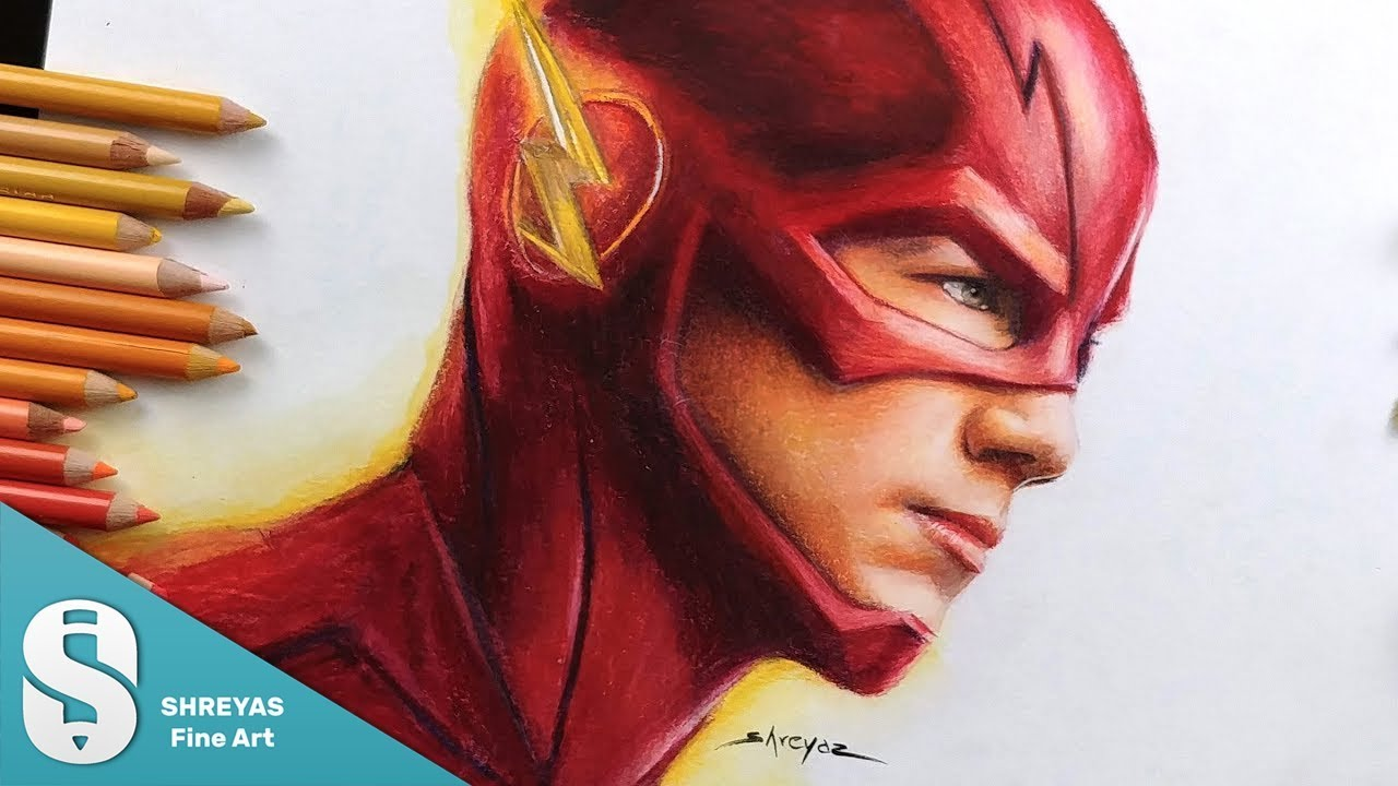 Speed Drawing The Flash Barry Allen Grant Gustin