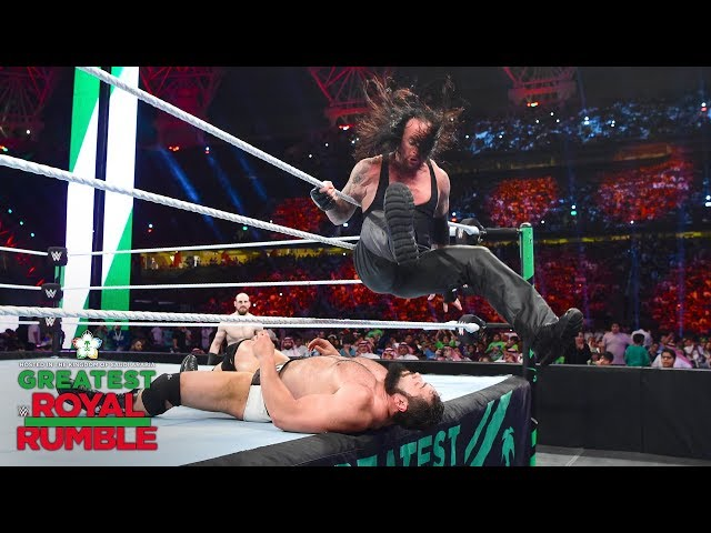 The Undertaker spoils Rusev Day with a vicious leg drop on the apron: Greatest Royal Rumble