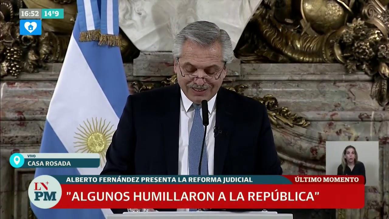 """Reforma judicial: Alberto Fernández hace su anuncio completo, """"algunos humillaron a la República"""""""