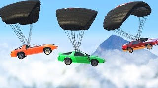 MID-AIR CAR PARACHUTE BATTLE (GTA 5 Free Roam)