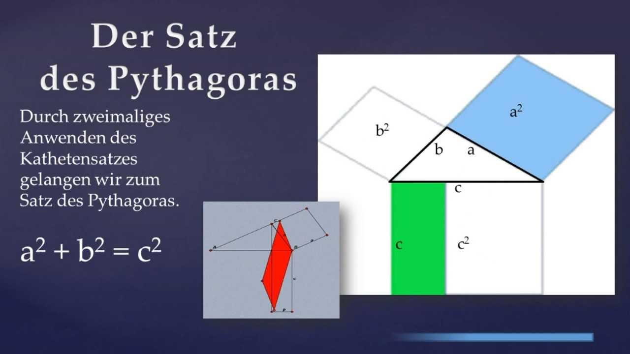 beweis kathetensatz und satz des pythagoras youtube. Black Bedroom Furniture Sets. Home Design Ideas