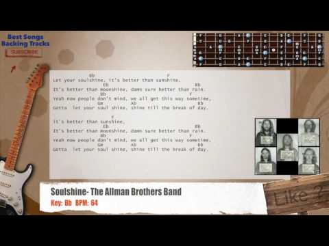 Soulshine - The Allman Brothers Band Guitar Backing Track with chords and lyrics