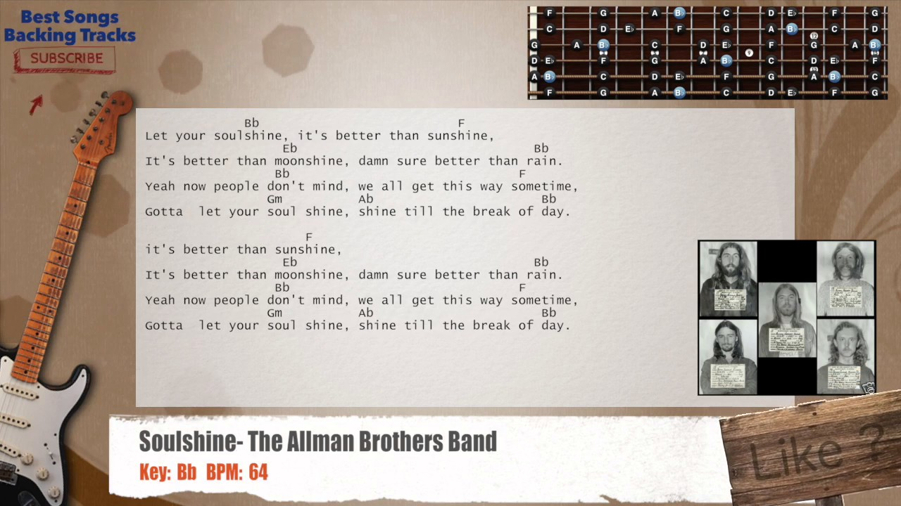 Soulshine The Allman Brothers Band Guitar Backing Track With