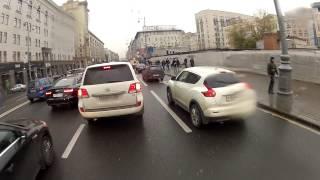Through Moscow traffic jam by bike