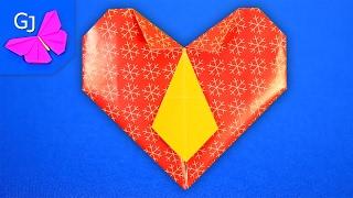 Оригами из бумаги Валентинка Сердце с галстуком