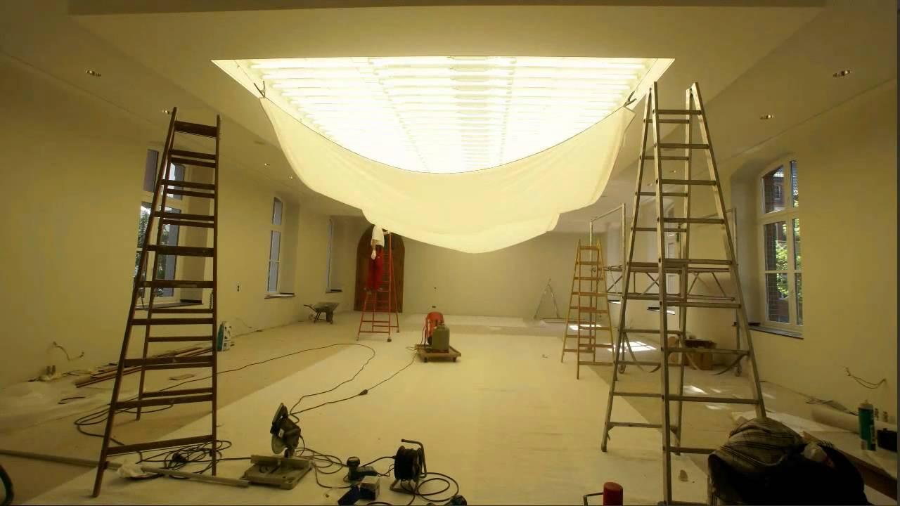 barrisol lichtdecke in einem kloster montiert durch die firma niederstein aus k ln youtube. Black Bedroom Furniture Sets. Home Design Ideas
