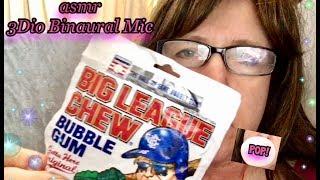 ASMR 🎧 One H๐ur Quiet Fun with Big League Chew Juicy Bubble Gum 3Dio Binaural Mic, Ear to Ear