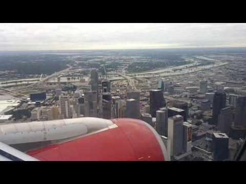 4K UHD DAL Virgin America A319 Landing Dallas Love Field AMAZING view Downtown Dallas